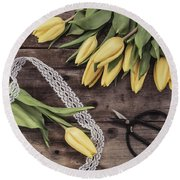 Round Beach Towel featuring the photograph Tulips Of Spring by Kim Hojnacki