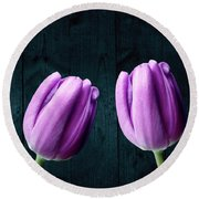 Tulips On Wood Round Beach Towel