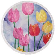 Tulips - Red-yellow-pink Round Beach Towel