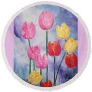 Ten  Simple  Tulips  Pink Red Yellow                                Flying Lamb Productions   Round Beach Towel