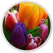 Round Beach Towel featuring the photograph Tulips Smiling by Marie Hicks