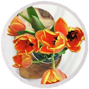 Round Beach Towel featuring the pyrography Tulips by Stephanie Frey