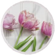 Round Beach Towel featuring the photograph Tulips Three by Kim Hojnacki