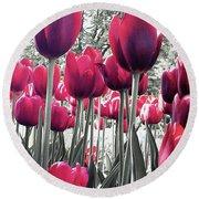 Tulips Tinted Round Beach Towel