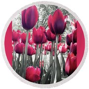 Tulips Tinted Round Beach Towel