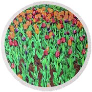Tulips Tulips Everywhere Round Beach Towel