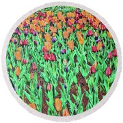 Round Beach Towel featuring the painting Tulips Tulips Everywhere by Deborah Boyd