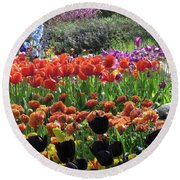 Tulips, Tulips, Tulips And More Round Beach Towel