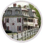 Round Beach Towel featuring the photograph Tulpehocken Manor Plantation Historic Site  by David Dehner