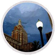 Tulsa Streetscape Round Beach Towel