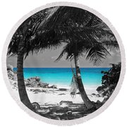 Tulum Mexico Beach Color Splash Black And White Round Beach Towel by Shawn O'Brien