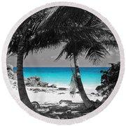 Round Beach Towel featuring the digital art Tulum Mexico Beach Color Splash Black And White by Shawn O'Brien