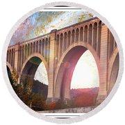 Tunkhannock Viaduct, Nicholson Bridge, Starry Night Fantasy Round Beach Towel