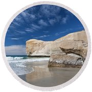 Tunnel Beach 1 Round Beach Towel