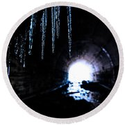 Tunnel Icicles 2 Round Beach Towel