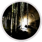 Tunnel Icicles Round Beach Towel
