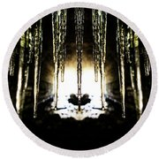 Tunnel Icicles Reflection Round Beach Towel