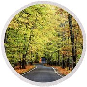 Tunnel Of Trees Round Beach Towel