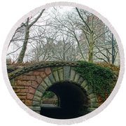 Round Beach Towel featuring the photograph Tunnel On Pathway by Sandy Moulder