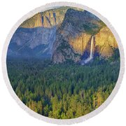 Tunnel View At Sunset Round Beach Towel by Rick Berk
