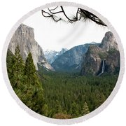 Tunnel View Framed Round Beach Towel