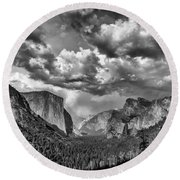 Tunnel View In Black And White Round Beach Towel by Rick Berk