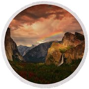 Tunnel View Rainbow Round Beach Towel