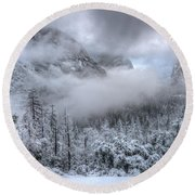 Tunnel View Yosemite National Park Ansel Adams Round Beach Towel