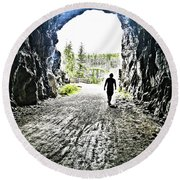 Round Beach Towel featuring the photograph Tunnel Vision by Nadine Dennis