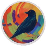 Round Beach Towel featuring the painting Tunnel Vision by Nancy Jolley