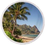 Tunnels Beach Haena Kauai Hawaii Bali Hai Round Beach Towel