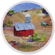 Round Beach Towel featuring the painting Tunkhannock Farm by Judith Rhue