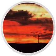Turbines At Sunset Round Beach Towel