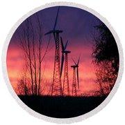 Turbines, Trees And Twilight Round Beach Towel by Kathy M Krause