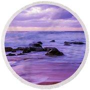 Turbulent Daybreak Seascape Round Beach Towel