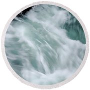 Turbulent Seas Round Beach Towel by Donna Blackhall