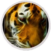 Turbulent Tiger Round Beach Towel