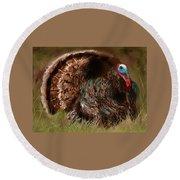 Turkey In The Straw Round Beach Towel