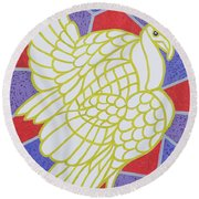 Turkey On Stained Glass Round Beach Towel