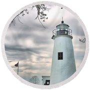 Turkey Point Lighthouse Round Beach Towel