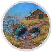 Round Beach Towel featuring the painting Turkey Tom's Tango by Xueling Zou