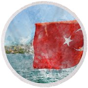 Turkish Flag Round Beach Towel