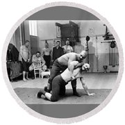 Turkish Wrestlers 1904 Round Beach Towel
