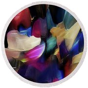 Round Beach Towel featuring the digital art Turn Off The World And Tarry by Margie Chapman