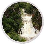 Turner Falls Waterfall Round Beach Towel