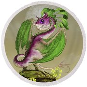 Turnip Dragon Round Beach Towel by Stanley Morrison