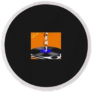 Turntable Love Round Beach Towel