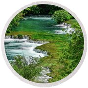 Turqouise Waterfalls Of Skradinski Buk At Krka National Park In Croatia Round Beach Towel