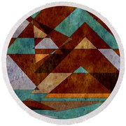 Turquoise And Bronze Triangle Design With Copper Round Beach Towel