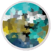 Turquoise And Gold Round Beach Towel